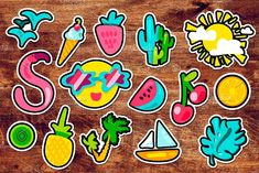 Tropical Summer Stickers by barsrsind on @creativemarket