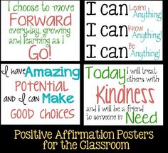 6 Positive Affirmation Posters to motivate and encourage students