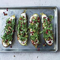 Roasted Eggplant with Pomegranate, Pickled Chiles, and Pecans | CookingLight.com