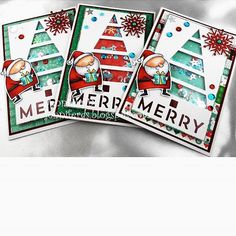 A few more Santa shaker cards completed Jenniferds.blogspot.com.au. #myfavoritethings #lawnfawnstamps