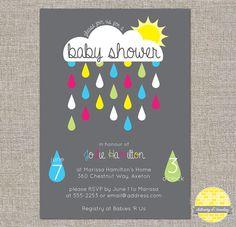 Baby Shower Rain Cloud Invitation - diy printable file by YellowBrickStudio