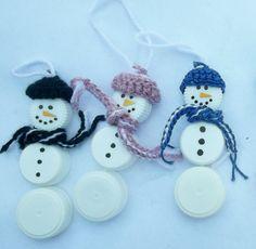 Plastikflasche Cap Schneemänner Ornamente von stewys auf Etsy