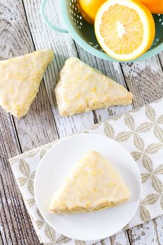 Tender orange scones covered with a sweet, fresh orange glaze. Vegan Dessert Recipes, Vegan Sweets, Gluten Free Desserts, Dairy Free Recipes, Brunch Recipes, Gf Recipes, Gluten Free Baking, Vegan Gluten Free, Lactose Free