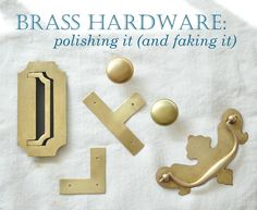 BRASS HARDWARE TUTORIAL: two great substitutes for faking the patina, how to tell the difference between real brass and brass plate, how to polish unlacquered brass, or how to fake the look of antique brass hardware Valspar, Behr, How To Polish Brass, Furniture Makeover, Diy Furniture, Painted Furniture, Dresser Makeovers, Refinished Furniture, Furniture Refinishing