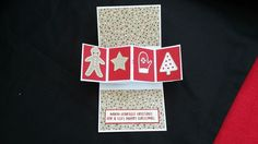 Stampin' Up! Candy Cane Lane DSP, Pivot Twist card, Mini pop up card, Real red, Crumb Cake, Christmas