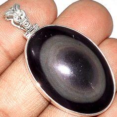 Obsidian Eye 925 Sterling Silver Pendant Jewelry PP23681   eBay