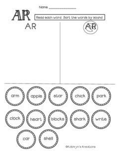 AR Blend: Word Sort by Kathryn's Kreations | Teachers Pay Teachers