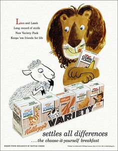 Lion and Lamb - Kellogg's Variety Pack, 1958  Remember going to Grammery's and having this?  How special it was.