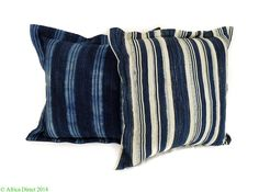 2 Mossie Indigo Pillows Striped African 16 x 16 inch