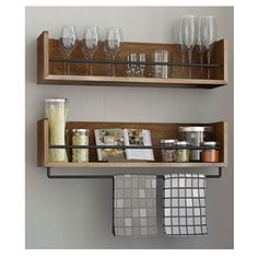 """•Each Shelf's Dimensions:Length20"""" Depth 6"""" Height 5"""" •Rail dimensions: Lenght: 19.75"""" •Product Decription Shelf : 100% Solid Wood Rail : Metal Buyer recieves Set of 2 Stylish Kitchen Wall Shelf with Rail, will match with any kitchen decor Rustic Shelves make space utilization efficient and perfect for displaying your often use kitchen needs , favorite books,"""