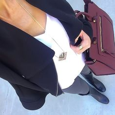 Black moto jacket + white cami+ grey jeans + black boots + burgundy satchel [IG: Click through for outfit details Sexy Outfits, Cute Outfits, Work Outfits, Olive Dress, Weekly Outfits, Grey Jeans, Everyday Outfits, Autumn Winter Fashion, Black Boots