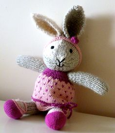 Ravelry: Abstracite's Andie the bunny in a pink dress