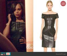 Olivia's leather off-shoulder dress on Scandal.  Outfit Details: http://wornontv.net/47047/ #Scandal