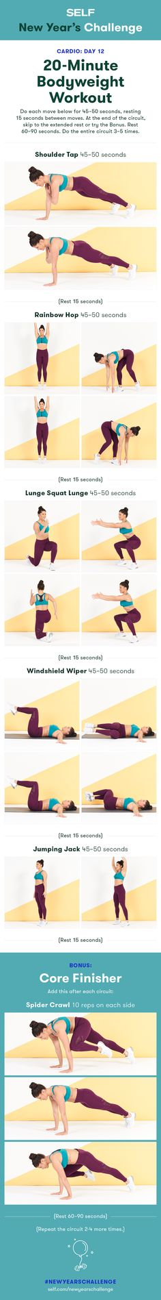 Welcome to our #NewYearsChallenge! Try this 20-minute bodyweight workout for women with shoulder taps and lunges for total body exercise!