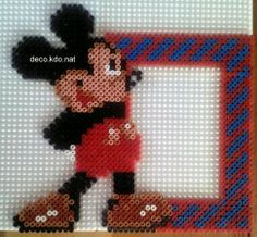 Mickey photo frame hama perler beads by deco.kdo.nat