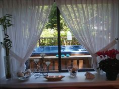 Relax in our hot-tub off the Garden-view Master Bedroom from Living-room.