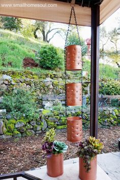 Making a recycled tin can lantern and planter is a great way to reduce, reuse, and recycle while making some great DIY decor for your garden or patio. garden diy decor Recycled Tin Can Lantern & Planter - Reduce & Reuse Decor Garden Web, Diy Garden, Balcony Garden, Garden Projects, Garden Design, Garden Whimsy, Garden Junk, Diy Projects, Garden Sheds