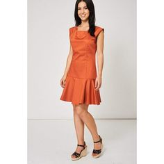 Frill Hem Terracotta Dress
