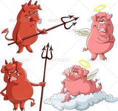 Realistic Graphic DOWNLOAD (.ai, .psd) :: http://jquery-css.de/pinterest-itmid-1001929910i.html ... Angels And Demons ...  angel, animal, artiodactyls, demon, devil, evil, good, isolated, mammal, nimbus, pig, piglet, trident, vector, wings  ... Realistic Photo Graphic Print Obejct Business Web Elements Illustration Design Templates ... DOWNLOAD :: http://jquery-css.de/pinterest-itmid-1001929910i.html