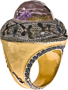 ShopStyle: Sevan Bicakci 24K Gold Ring with Amethyst, Diamonds and Rose