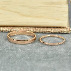 Rose Gold Wedding Band Set 1mm and 3mm Width by seababejewelry