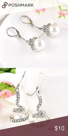 Pearl & Swirl Earrings Dangle Fashion Earrings * Rhinestones are displayed in a dangled downward swirl with a pearl at the bottom * silver plated * very classy and pretty Earrings * great for evening wear and special occasions or work / business attire Jewelry Earrings