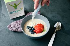 Find out more about why Bimuno is a good choice Acai Bowl, Healthy, Breakfast, Food, Acai Berry Bowl, Morning Coffee, Health, Meals, Morning Breakfast