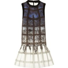 Tibi Printed stretch-cotton mini dress (7 165 UAH) ❤ liked on Polyvore featuring dresses, blue, mini, checked dress, lace print dress, flounce hem dress, mini dress and tibi