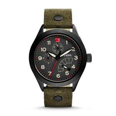 The Aeroflite Multifunction Leather Watch - Olive Originally inspired by 1950s aeronautic cockpit instruments, The Aeroflite provides accuracy, clarity and durability in a variety of conditions. Its new multifunction movement is housed in a tough case that packs a lot of information—day, week and a 24-hour display—in an easy-to-read format.