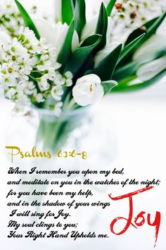 What a fantastic promise! Bible Scriptures, Bible Quotes, Psalm 63, Joy Of The Lord, Healing Words, Favorite Bible Verses, Lord And Savior, Praise God, Quotes About God