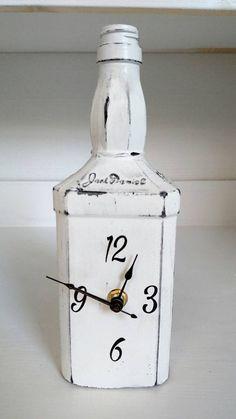 Jack Daniels bottle clock, clocks,unique bottle clock,unique clocks, Jack daniels, Jack Daniels bottle,upcycled Jack Daniels bottle