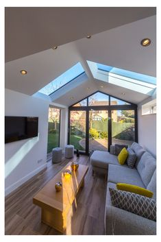 House Extension Plans, House Extension Design, Extension Designs, Rear Extension, Living Room Extension Ideas, Glass Roof Extension, Bungalow Extensions, Garden Room Extensions, House Extensions