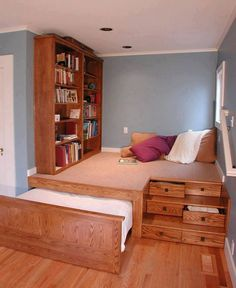 Now here is a cool design for a small room-lots of practical storage and still manage to get a bed and dresser, plus bookcase and study/lounge area. Perfect for a Tiny House