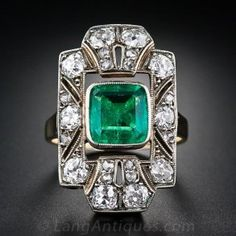 Antique Emerald and Diamond Dinner Ring