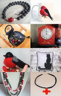 Black, Red and White by KnitWhats on Etsy--Pinned with TreasuryPin.com
