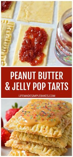 These homemade peanut butter and jelly pop tarts are the perfect lunch box treat! They're flaky, stuffed full of jam and topped with a peanut butter glaze. Just Desserts, Delicious Desserts, Dessert Recipes, Jelly Recipes, Brunch Recipes, Homemade Breakfast, Savory Breakfast, Breakfast Ideas, Breakfast Recipes