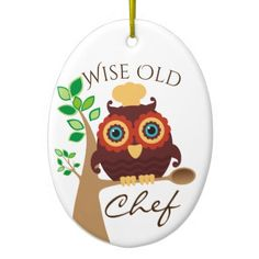 #owl wise old chef culinary Christmas ornament - #Xmas #ChristmasEve Christmas Eve #Christmas #merry #xmas #family #holy #kids #gifts #holidays #Santa