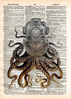 Octopus art, diving helmet, victorian steampunk, lovecraft octopus, dictionary page art print