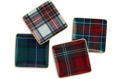 "Tartan Plaid square appetizer plates by Williams-Sonoma, 5.5"" square, $40/set of four; williams-sonoma.com"