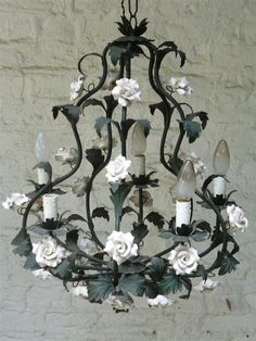 Big tall chandelier from france with porcelain by LievreVintage, €305.00