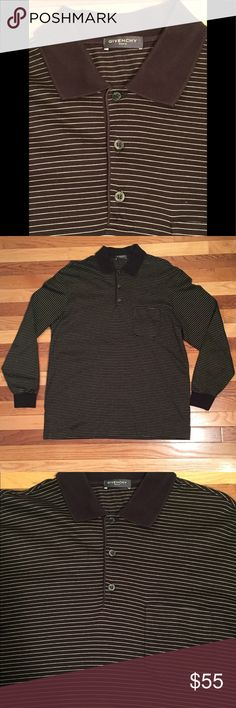 Givenchy Men's Black/Off White Stripped Long Givenchy Men's Black & Off White Stripped Long Sleeve Polo Shirt  Excellent Used Condition Size: XXL (fits like an XL) Made in. Italy  Long Sleeve  Black & Off White Horizontal Stripes Retail $925 Givenchy Shirts Polos