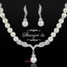 18K White GOLD GF Wedding PEARL NECKLACE EARRINGS SET Swarovski CRYSTAL EX332 #TheLastShangrila #Pendant
