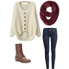 l'hiver Cozy ...  Ceci est une bonne façon de l'air mignon tout en étant à l'aise dans l'hiver . Ce sont des éléments typiques de vêtements d'avoir autour de la maison il est donc une tenue facile à mettre ensemble . Je suis particulièrement en amour avec cette tenue en raison de l'écharpe marron , je dois six à la maison !!