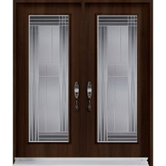Double Entry Door From Prestige Collection With Lounge Decorative Glass  Inserts