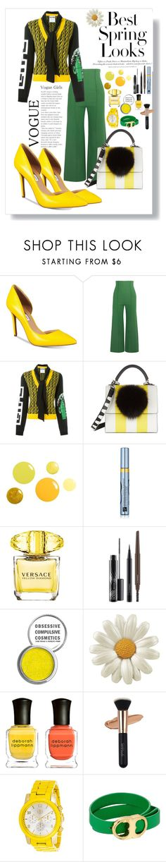 """""""Sunny outfit"""" by nady-beren ❤ liked on Polyvore featuring H&M, INC International Concepts, Emilia Wickstead, Moschino, Les Petits Joueurs, Estée Lauder, Versace, MAC Cosmetics, Obsessive Compulsive Cosmetics and Deborah Lippmann"""
