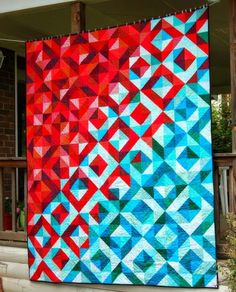 Quilting Patterns and Tutorials: Lava Meets Sea Half Square Triangle Quilt - Tutori...