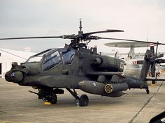 The Boeing Apache is a four-blade, twin-engine attack helicopter with a tailwheel-type landing gear arrangement, and a tandem cockpit for a two-man crew. Attack Helicopter, Military Helicopter, Us Military, Us Army, Military Aircraft, Army Vehicles, Armored Vehicles, Airplane Drone, Ah 64 Apache