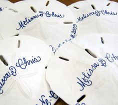 Perfect Beach Wedding Favors. Could also be used for guests to write a message to the bride and groom.