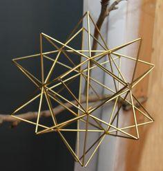 "Brass Pollen ball mobile - finnish himmeli sculpture - LARGE - 12.5"" sphere (31.75cm)"