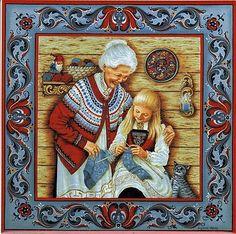 """Norwegian Trivet Tile """"Norwegian Knitting"""" 6"""" X 6"""" Cork Back, S. Toftey art"""